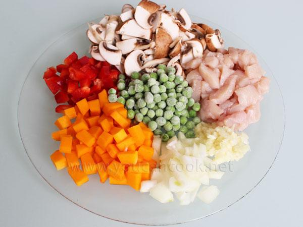 Curryreis Rezept mit Hähnchen und Gemüse1