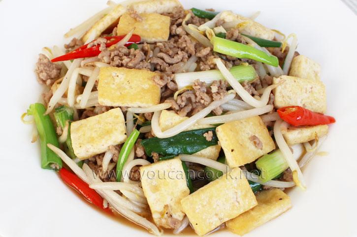 Tofu Rezept - Mit Sojasprossen und Hackfleisch