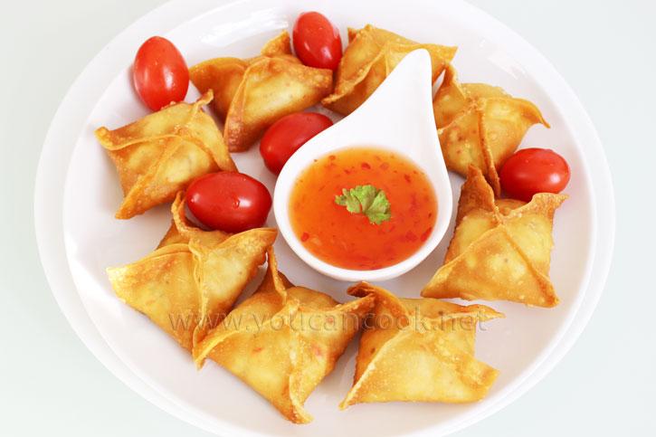 Wan Tan Rezept - Gefüllt mit Frischkäse und Surimi